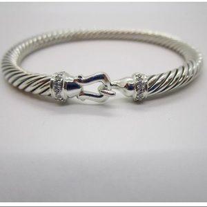 DAVID YURMAN SILVER 5mm buckle bracelet diamonds